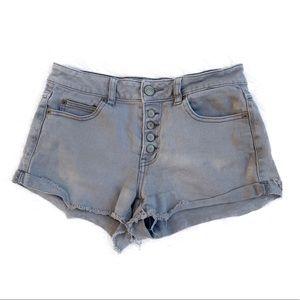 Rip Curl High Waisted Acid Wash Denim Shorts 1
